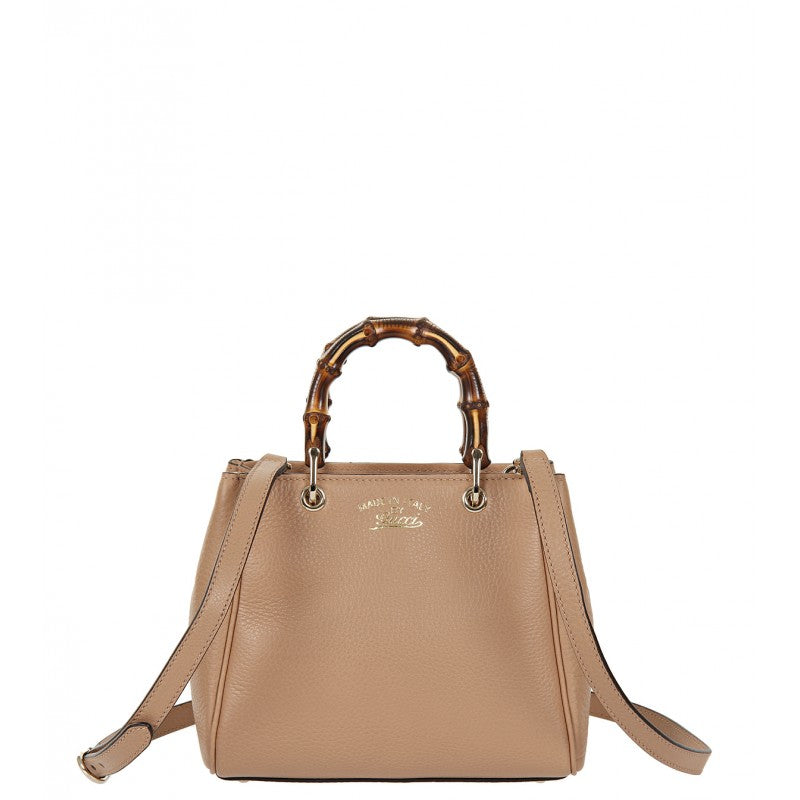 Light tan Bamboo mini leather top handle bag