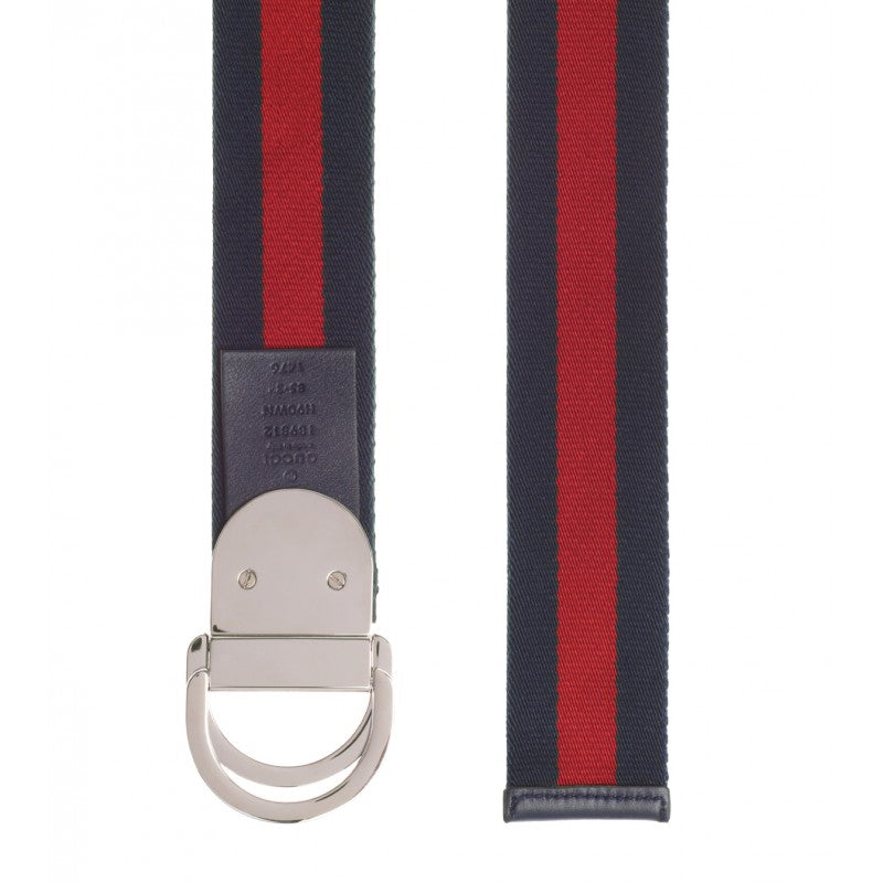 Navy blue & red nylon web signature buckle belt