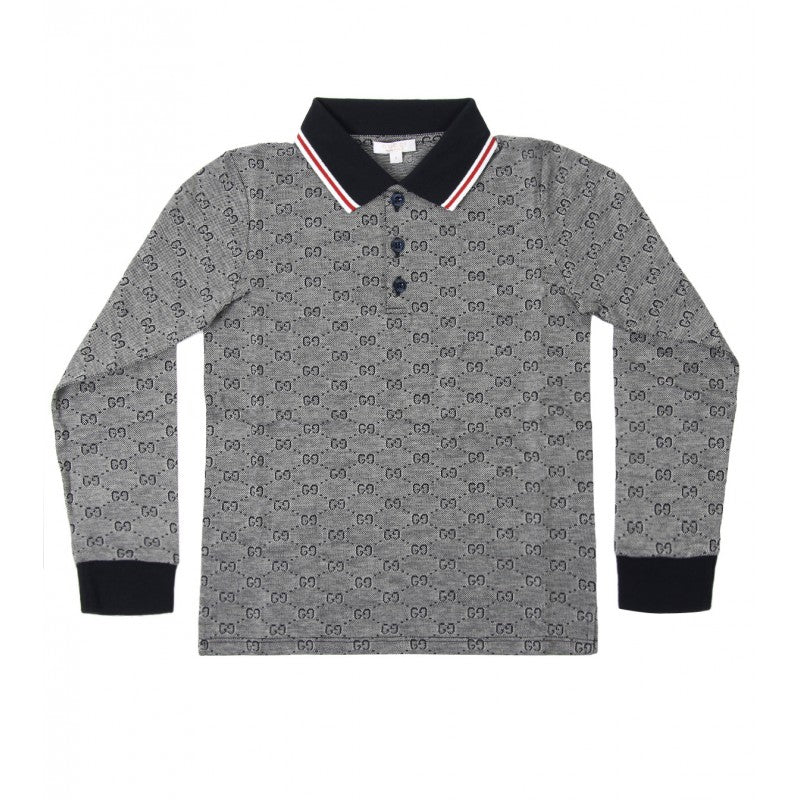 Navy blue cotton GG print long sleeve polo shirt