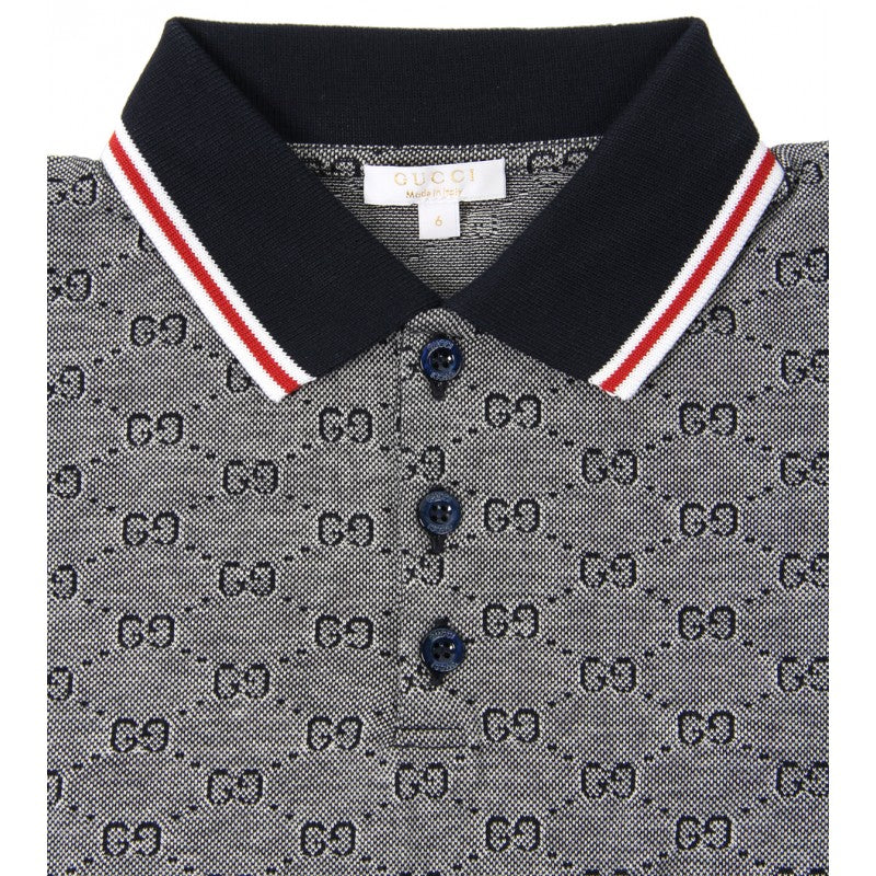 4c6c79bbf84c Navy blue cotton GG print long sleeve polo shirt - Profile Fashion