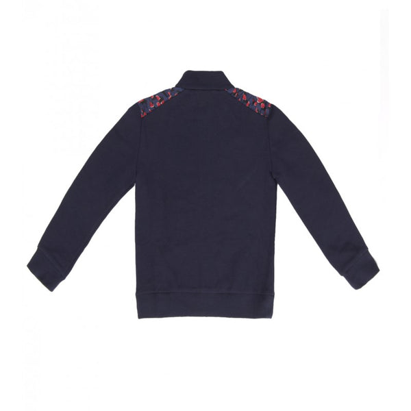 Navy blue cotton zip sweatshirt