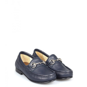 Navyblue Leather horsebit loafers