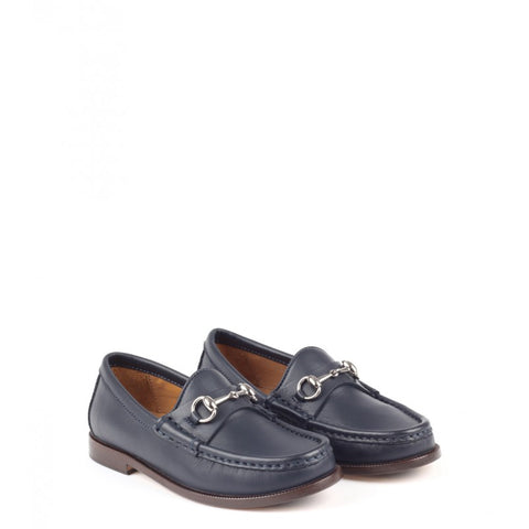 Navy blue leather kid's horsebit loafer