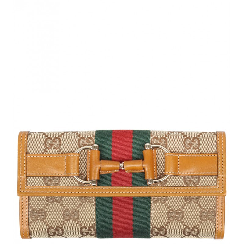 Orange & beige canvas Horesbit detail wallet