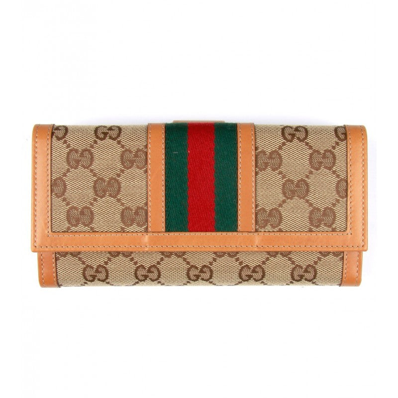 Orange & beige fabric & leather wallet