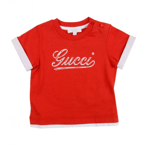 Orange cotton Gucci boys t-shirt