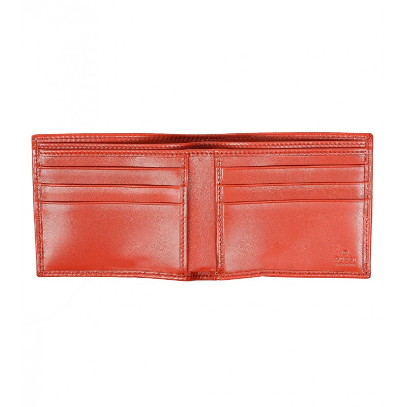 Orange leather diamante bi-fold wallet