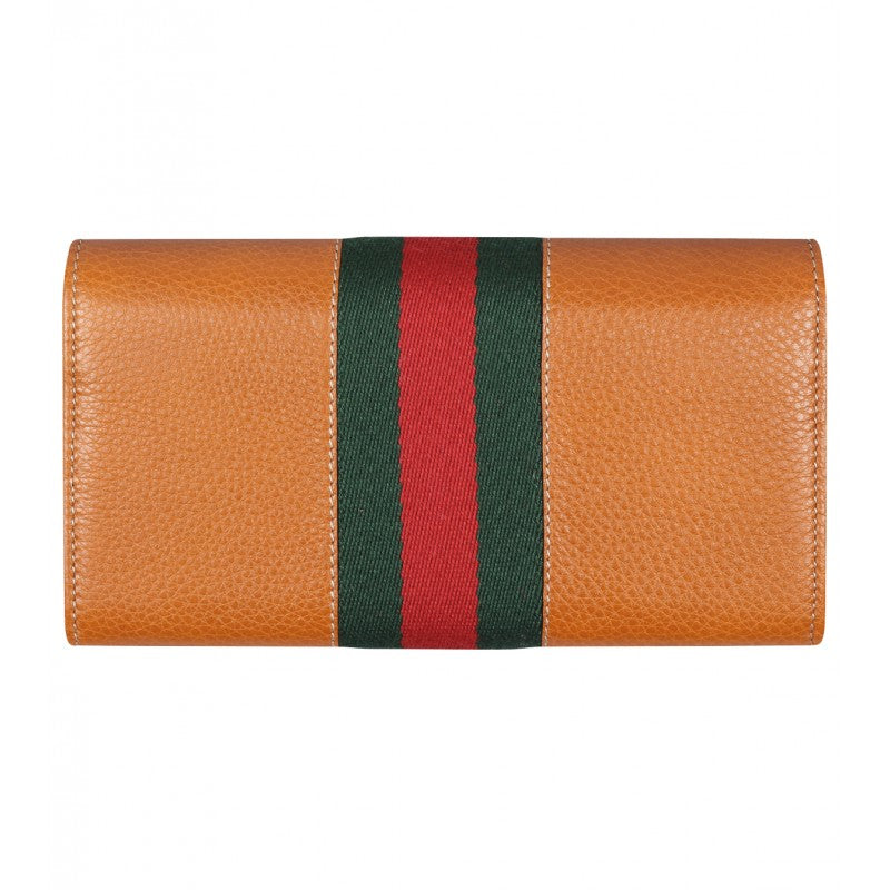 Orange leather Horsebit detail wallet