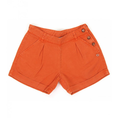 Orange lyocell shorts