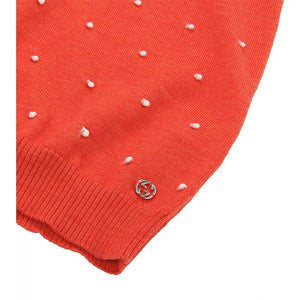 Orange merino wool polka dot turtleneck dress
