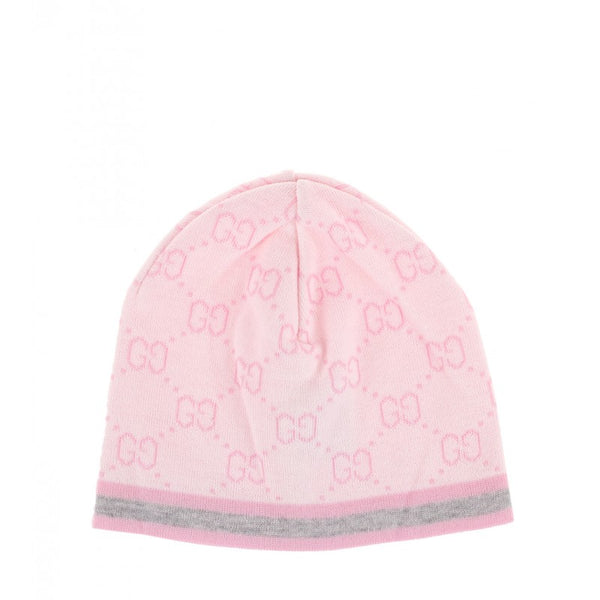 Gucci Pink wool GG pattern baby hat