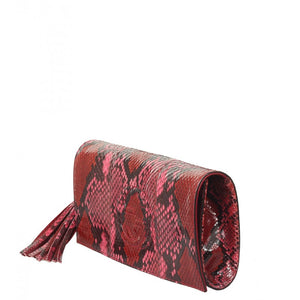 Pink & red python Soho clutch