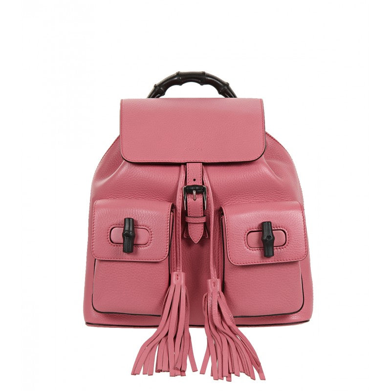 Pink leather bamboo sac backpack