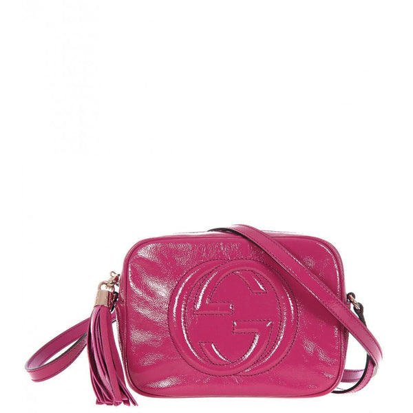 Dark pink patent leather shoulder bag