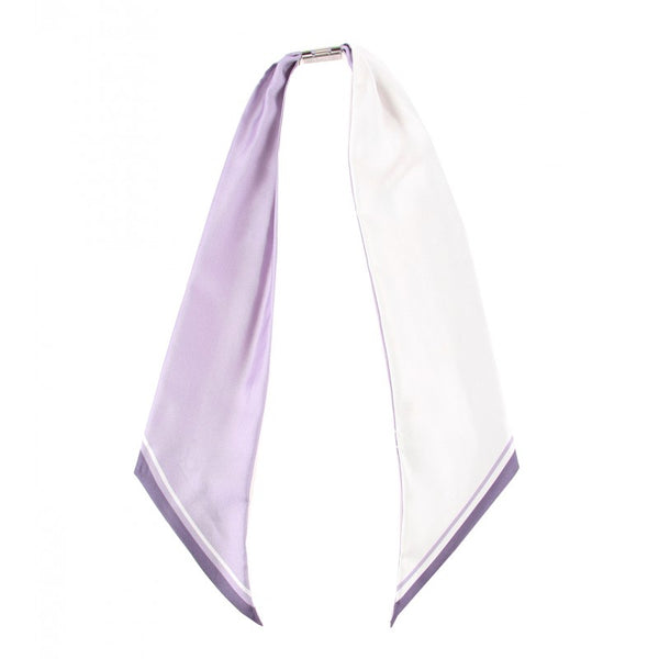 Purple & white silk neck scarf