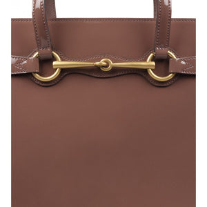 Purple leather top handle bag