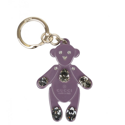 Purple plexiglass crystals teddy bear key ring