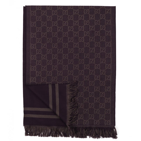 Purple wool GG jacquard pattern knit scarf