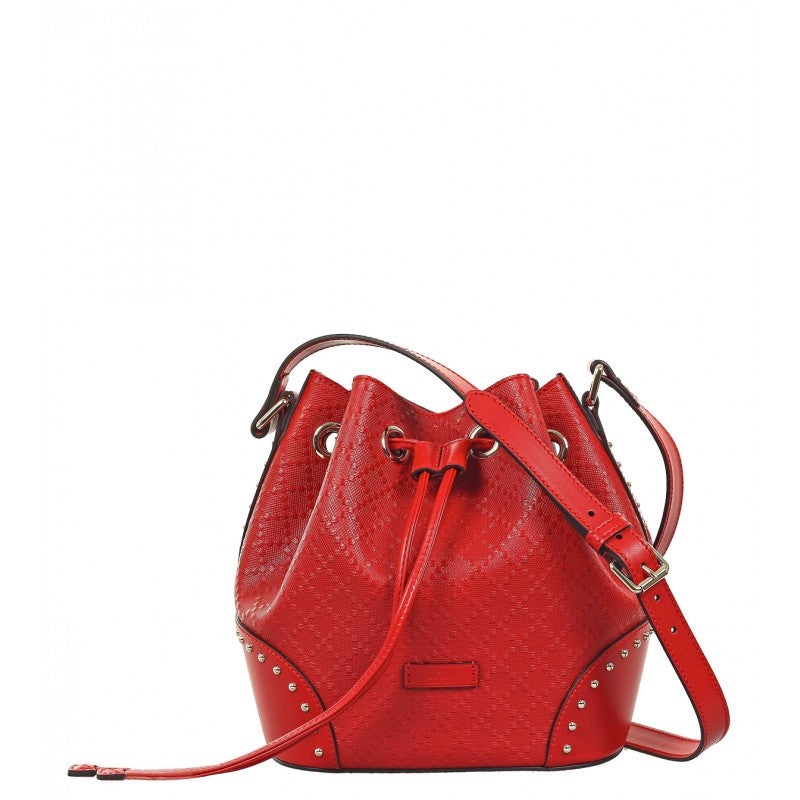 Red Diamante leather bucket bag