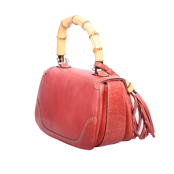 Red Libeccio textured leather small handbag
