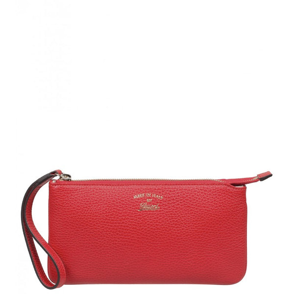 Red Swing leather wristlet