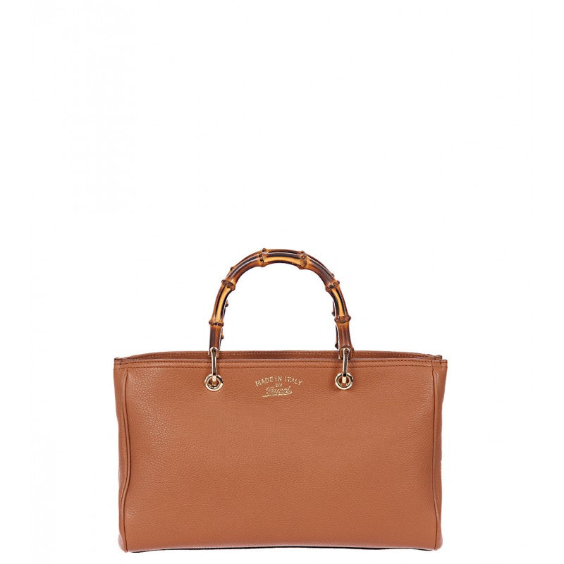 Sienna brown leather bamboo shopper tote