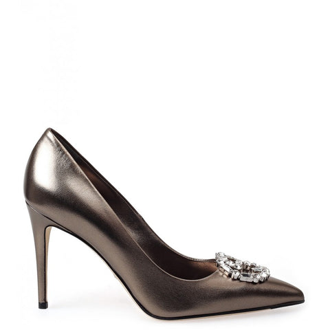 Silver GG sparkling metallic leather pumps