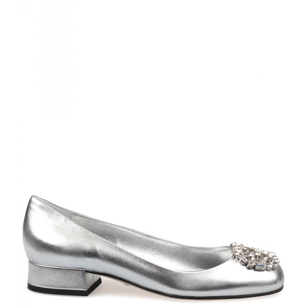 Silver metallic leather GG sparkling pumps