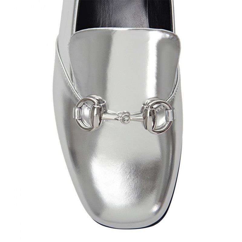 Silver metallic leather horsebit loafer