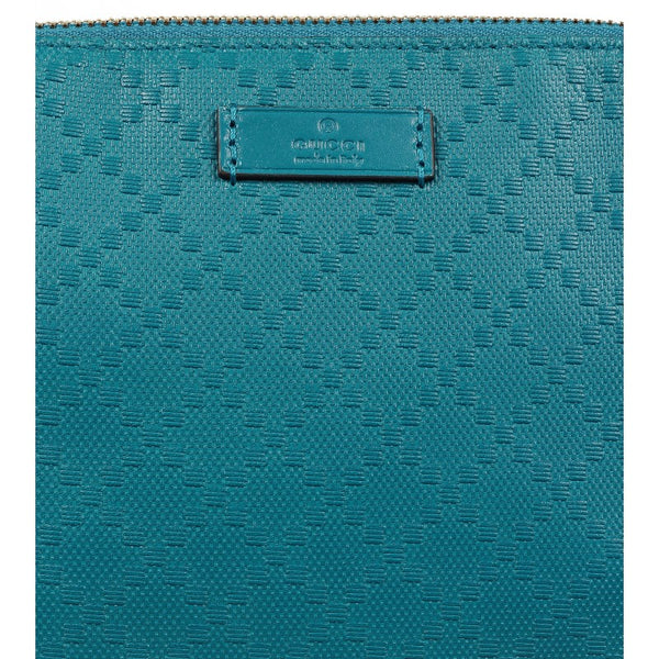 Teal leather diamante cosmetic case