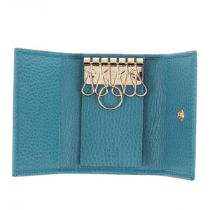 Teal leather swing key holder