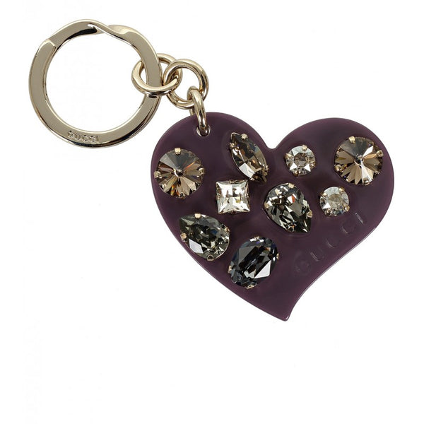 Gucci Violet plexiglass crystals heart key ring