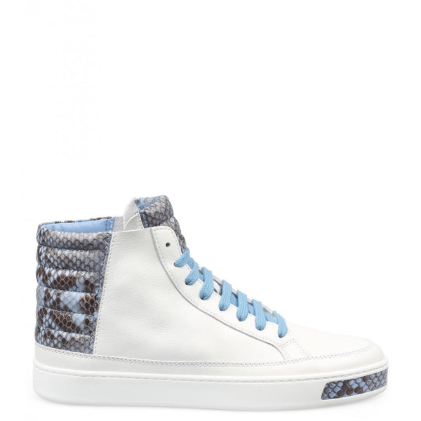White & blue leather & python high top sneakers