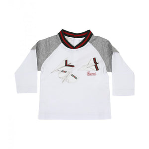 Gucci White & grey cotton Paper plane print t-shirt