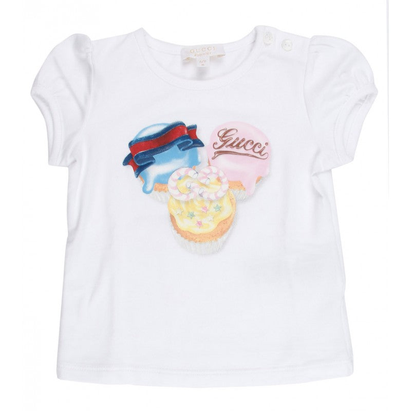 White cotton Gucci girls t-shirt