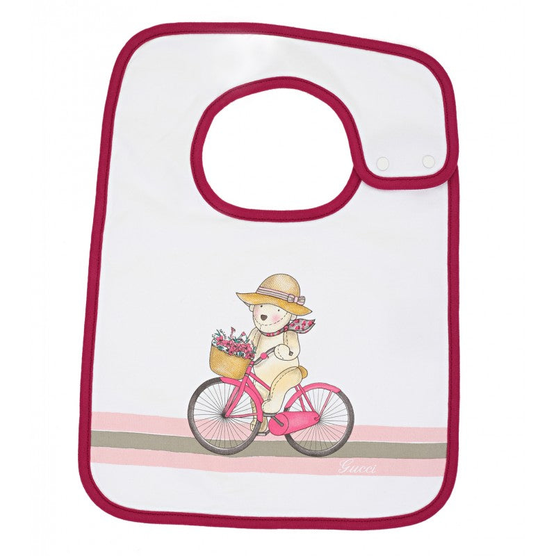 White cotton Teddy Bicycle bib