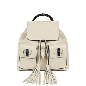 White leather bamboo sac backpack