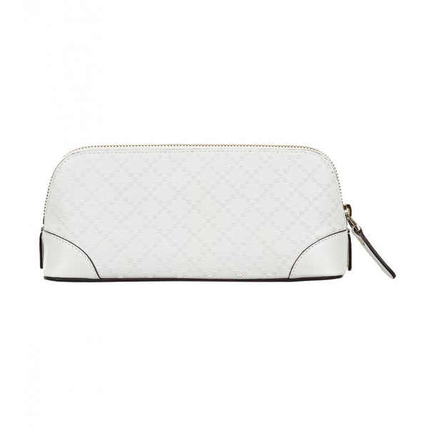 White leather diamante cosmetic case