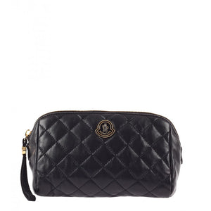 Black leather quilted make-up bag