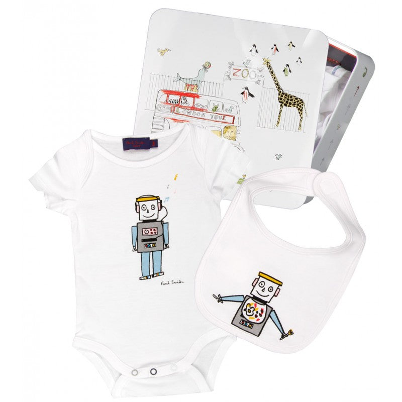 White babygro and bib gift set