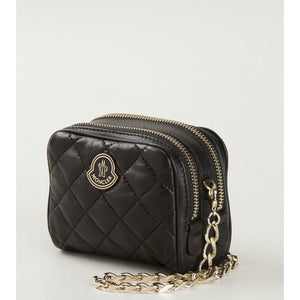 Black leather 'Luisa' crossbody bag