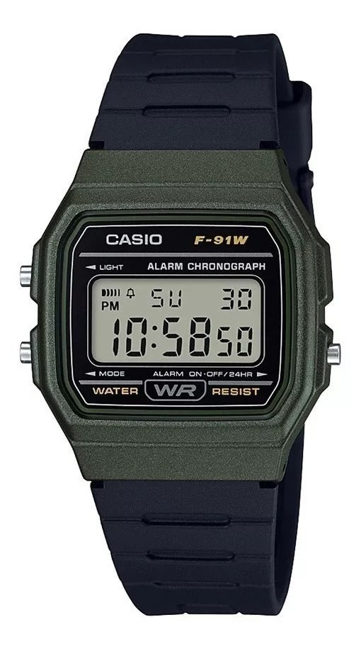 Reloj Casio 5 Alarmas  F-91wm-3 a Digital Verde Unisex Original