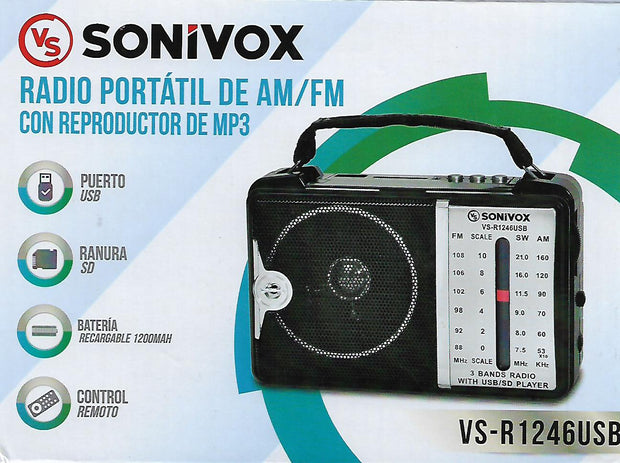 Radio Portatil Am/Fm Con Reproductor De Mp3 Y Control Remoto