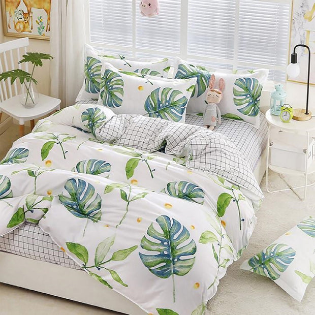 Set Doble Duvet Estampado Digital + Sabana Ajust Hojas