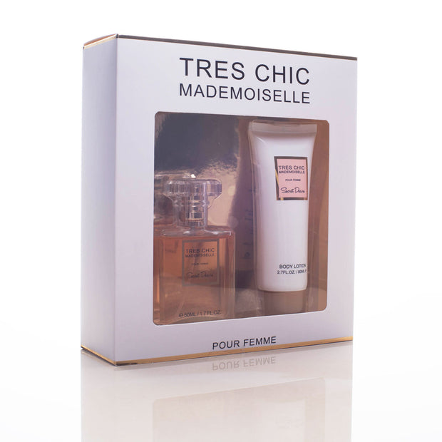 Estuche Perfume y Crema para mujer Tres Chic Mademioselle (50ML EDP + 80ML)