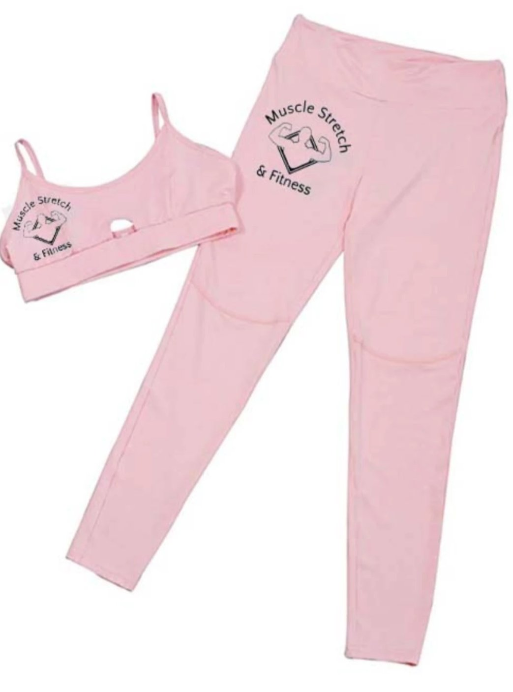 Women's Pink 2 PCS Sports Bra/Pants Set