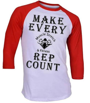 "Men's 3/4 Sleeve ""Make Every Rep Count"""