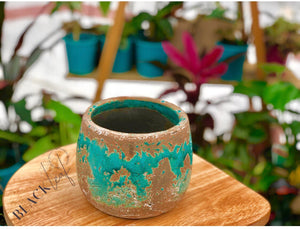 Small Teal Ceramic Pot