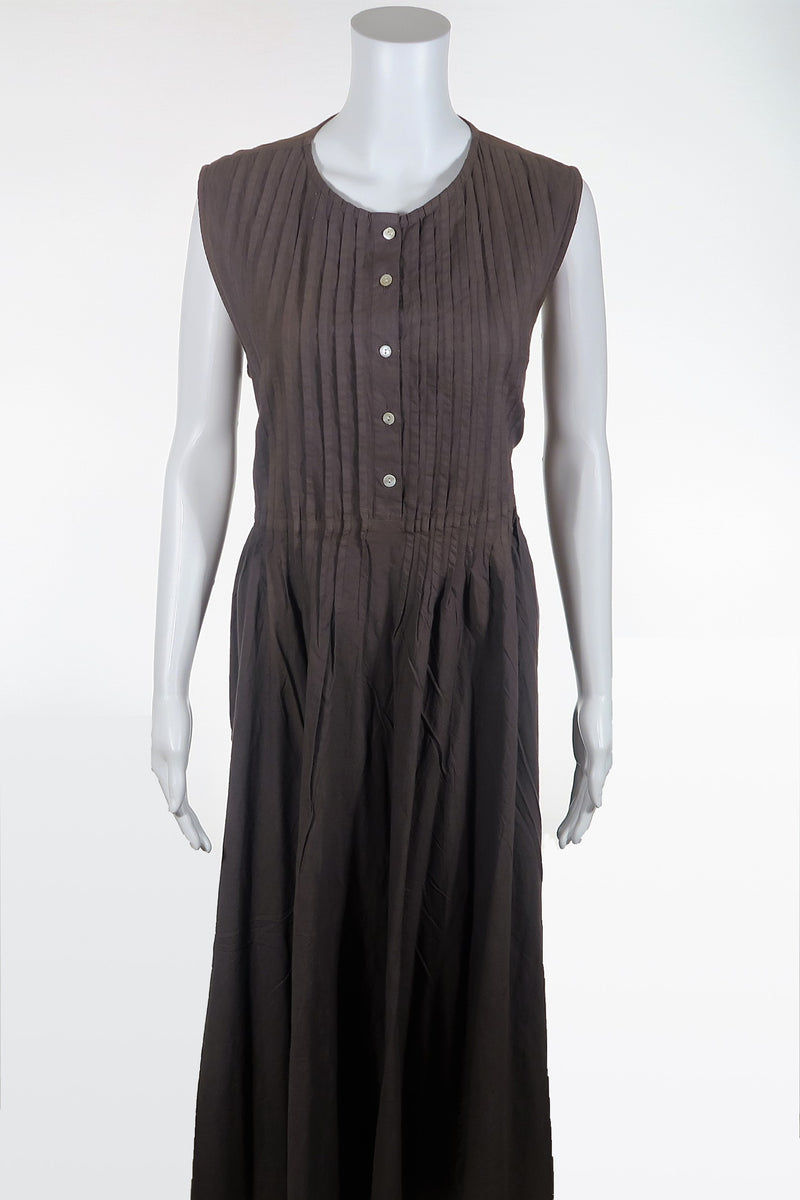 Pin Tuck Button-up Cotton Dress