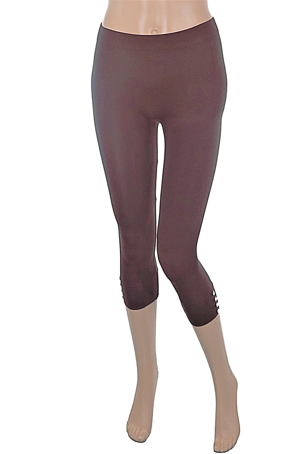 4 Button Capri Leggings - One Size Fits All